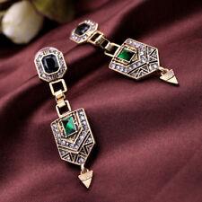 Vintage Art Deco Style Dangle Diamante Crystal Earrings Gold Tone Wedding Green