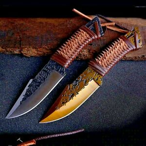 Clip Point Knife Hunting Tactical Combat Military Forged Steel Leather Wrapped S