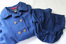 NWT Nautica Designer Button Up Navy Blue Collared Toddler Girls' Dress 24 mo $48