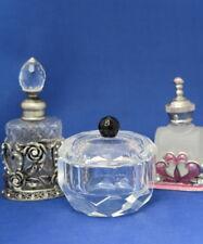 Two Mini Glass Perfume Bottles & Multi-Sided Pot