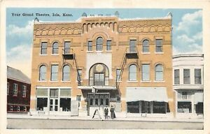 H70/ Iola Kansas Postcard c1915 Your Grand Theatre Building  8