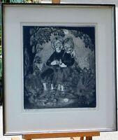 "Helen Siegl, b.1924 vintage woodblock, ""The Promise"" noted woodblock artist"