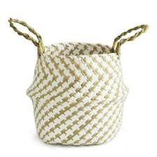 Garden Flower Pot Planter Seagrass Belly Basket Straw Write Wicker Storage Decor