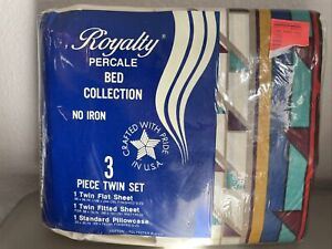 Vintage Royalty Percale No Iron Twin Sheets Set  in package