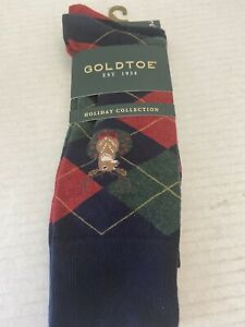 Mens Goldtoe Holiday Deer Argyle Collection Socks 2 pair size 6-12 1/2 New $15