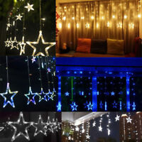 138LED Light Stars Twinkle Xmas Party Wedding Wall Curtain Window Fairy String G