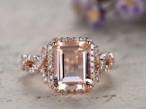 3ct Emerald Morganite Solitaire Engagement Infinity Ring 14k SOLID Rose Gold