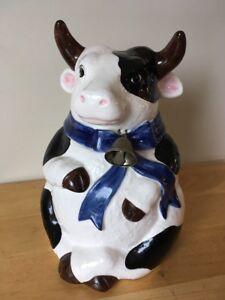 "Takahashi San Francisco Japan, Cow Cookie Jar, Hand Painted Ceramic w/ Bell 9"""