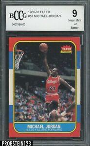 """1986-87 Fleer Basketball #57 Michael Jordan RC Rookie HOF BCCG 9 """" PACK FRESH """""""