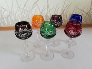 Likörgläser aus Kristall, farbig, 6 Stück