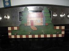 Wooden Coffee/Keys Mug Wall Rack with 4 pegs Shape of A House  VGUC