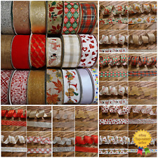 Wire Edged Ribbon FROM £1 Christmas Craft Decoration Glitter Bow Wrapping