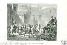 Abd el-Rahman Sarrasins Musulmans Narbonne Charles Martel GRAVURE OLD PRINT 1883
