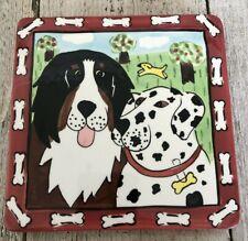 New listing Dogzilla Candace Reiter Catzilla Designs 6x6 Tile/Trivet w/ 2 Dog Friends