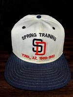 San Diego Padres Spring Training SD Denim Snapback Hat Cap VTG MLB New Era USA