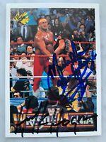 Mega Powers Dual Signed 1990 WWF Classic Card 32 Hulk Hogan & Macho Man HOF AUTO