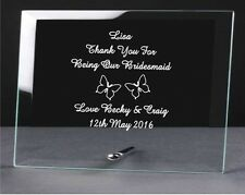 personalised engraved glass plaque, wedding bridesmaid Birthday Gifts