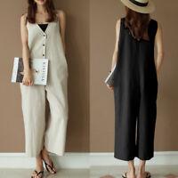 Summer Women Baggy Harem Wide Leg Overalls V-neck Straps Flare Jumpsuit Playsuit