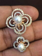 Pave 4.40 Cts Round Brilliant Cut Diamonds Pearl Ring In Solid Hallmark 14K Gold