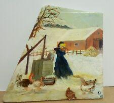 Lovely Winter Scene Painted on Marble Stone Signed DR (Doris Richardson)