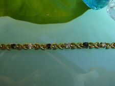 New Blue Sapphires with Cubic Zirconia Gold Plated Blacelet