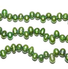 NP275f Emerald Green 6x5-8x5mm Rice Cultured Freshwater Pearl Gemstone Beads 15""