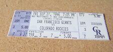 September 27, 1996  SF San Francisco Giants Rockies Barry Bonds 40/40 ticket IBM