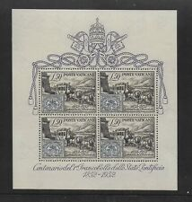 VATICAN 1952, CENTENARY OF FIRST PAPAL STAMPS,  CAT £450, SG MS176a, MINT HINGED