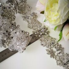 1M High Quality Lace Flower  Trim with sequin & Pearl(beaded)    Dark SILVER