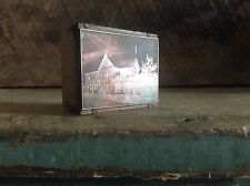 Copper Ink Plate Type On Wood Block Old House Small Block