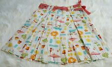 Liz Claiborne Petite Skirt Size 2 White Pink Orange Beach Umbrella Flower G-19