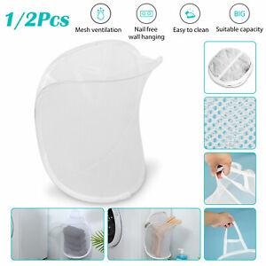 Foldable Portable Hanging Mesh Laundry Basket Hamper Dirty Washing Clothes Bag