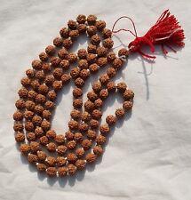 Rudraksha Mala Tibetan Buddhist Hindu Prayer Beads, Rudraksha 108+1 beads, 7mm