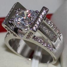 Size 9/S Jewelry Womens Round White Sapphire CZ Around 925 Silver Wedding Ring
