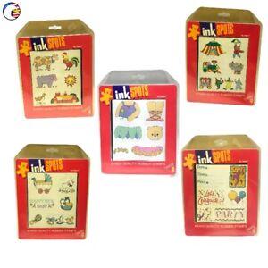 Brand New Vintage Wooden/Rubber Stamp 6-packs DAKIN🧸 INK SPOTS (c)1993 📦SDS&H