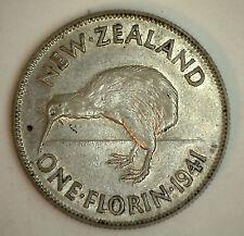 1941 Silver New Zealand 1 Florin 2 Shilling Coin XF #2