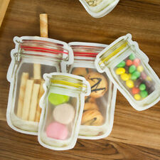 4 Pieces Mason Jar Zipper Bags Reusable Snack Saver Bag Leakproof Food Sandwich
