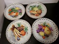 Vintage Hand Painted Plates Ucagco Fruit Design Japan Signed Wall Decor Set of 4