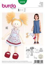 Burda Costura patrón lindo muñeca con un Vestido Y Zapatos 6824