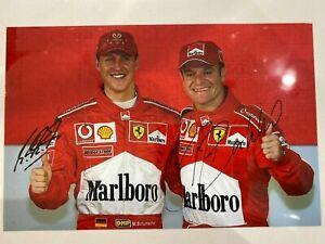 Michael Schumacher + Rubens Barrichello signed Ferrari F1 A4 photo *Rare* # 2