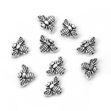 🐝🐝100 Silver Metal Bumble Bee Beads 13mm🐝🐝