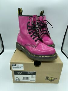 Dr Martens Womens Hot Pink Patent Leather Lace Up 1460W Doc Ankle Combat Boots 6