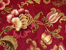 Mill Creek Jacobean Floral RUBY Red Green Gold Home Decor Drapery Sewing Fabric