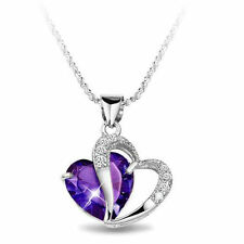 Amethyst Purple Heart Made With Swarovski Crystal Necklace Gift