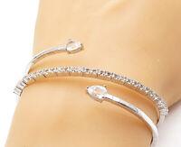 925 Sterling Silver - Tear Drop Topaz Bypass Designed Bangle Bracelet- B7152