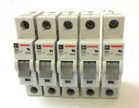 Lot of 5 Cutler Hammer WMS1D20 Circuit Breakers, 1-Pole, 240VAC 20A, D-Curve DIN