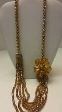 Gorgeous long beaded golden flower necklace