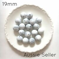 10 silicone beads GREY MARBLE 19mm round BPA free baby sensory jewellery 20mm