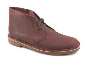 Clarks Men's Bushacre 2 Aubergine Leather Chukka Boot Burgundy Size 12 M