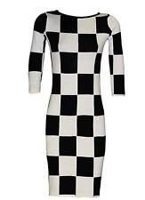 Damen Kleid Gr. 44 Etuikleid Strickkleid schwarz weiß Cocktailkleid Business
